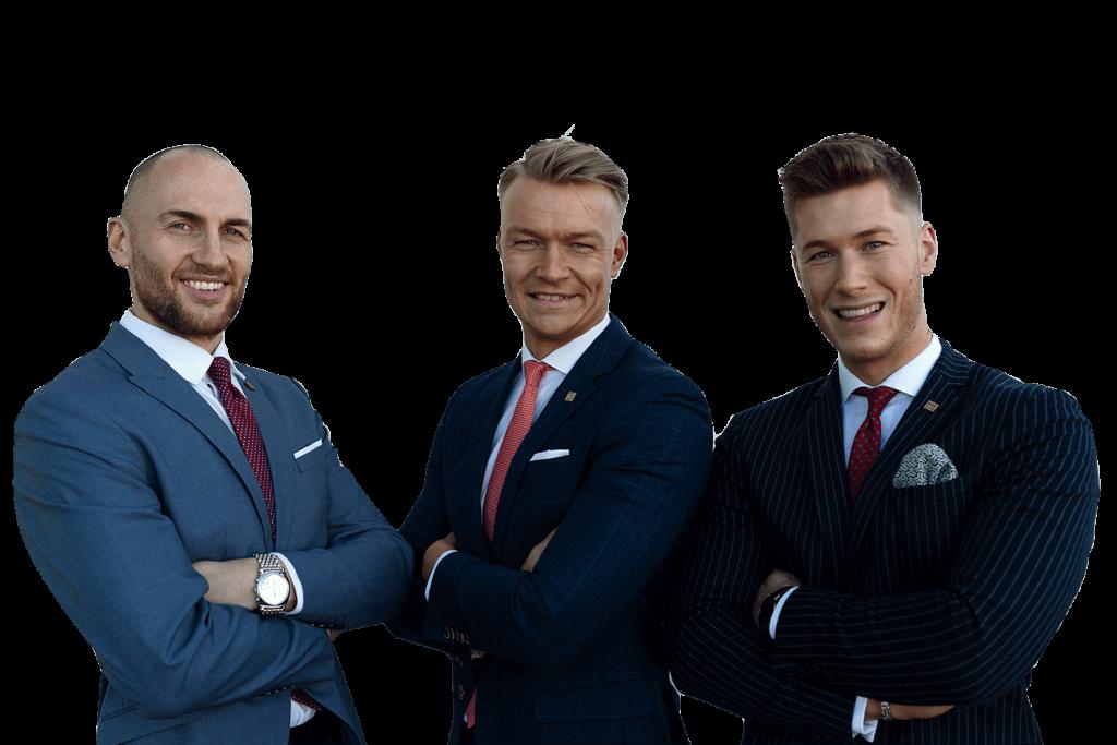 Christoph Eisold, Thomas Büttelmann und Steffen Rüsch von der Finanzkanzlei Bremen mit transparentem Hintergrund
